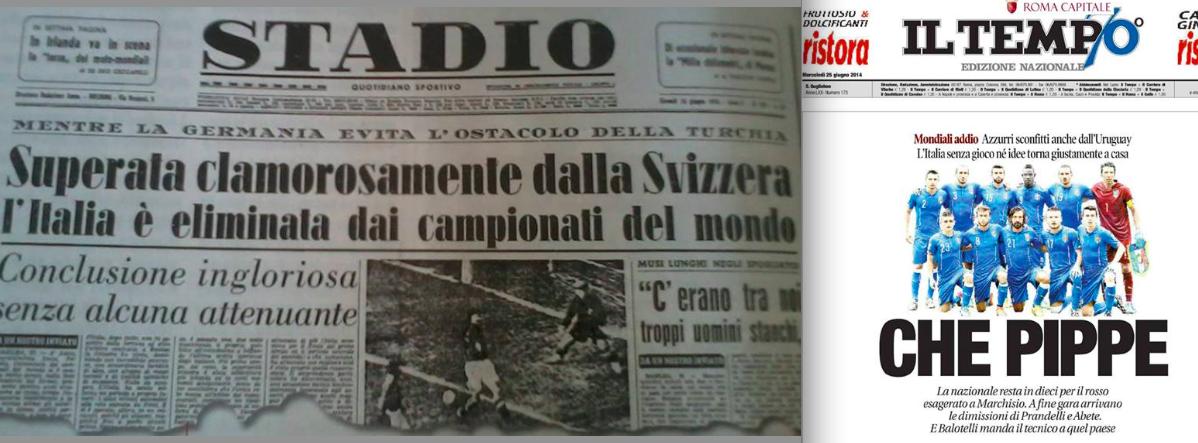 Le eliminazioni dell'Italia ai Mondiali nel 1954 e nel 2014, trattate con enfasi differente dalla stampa