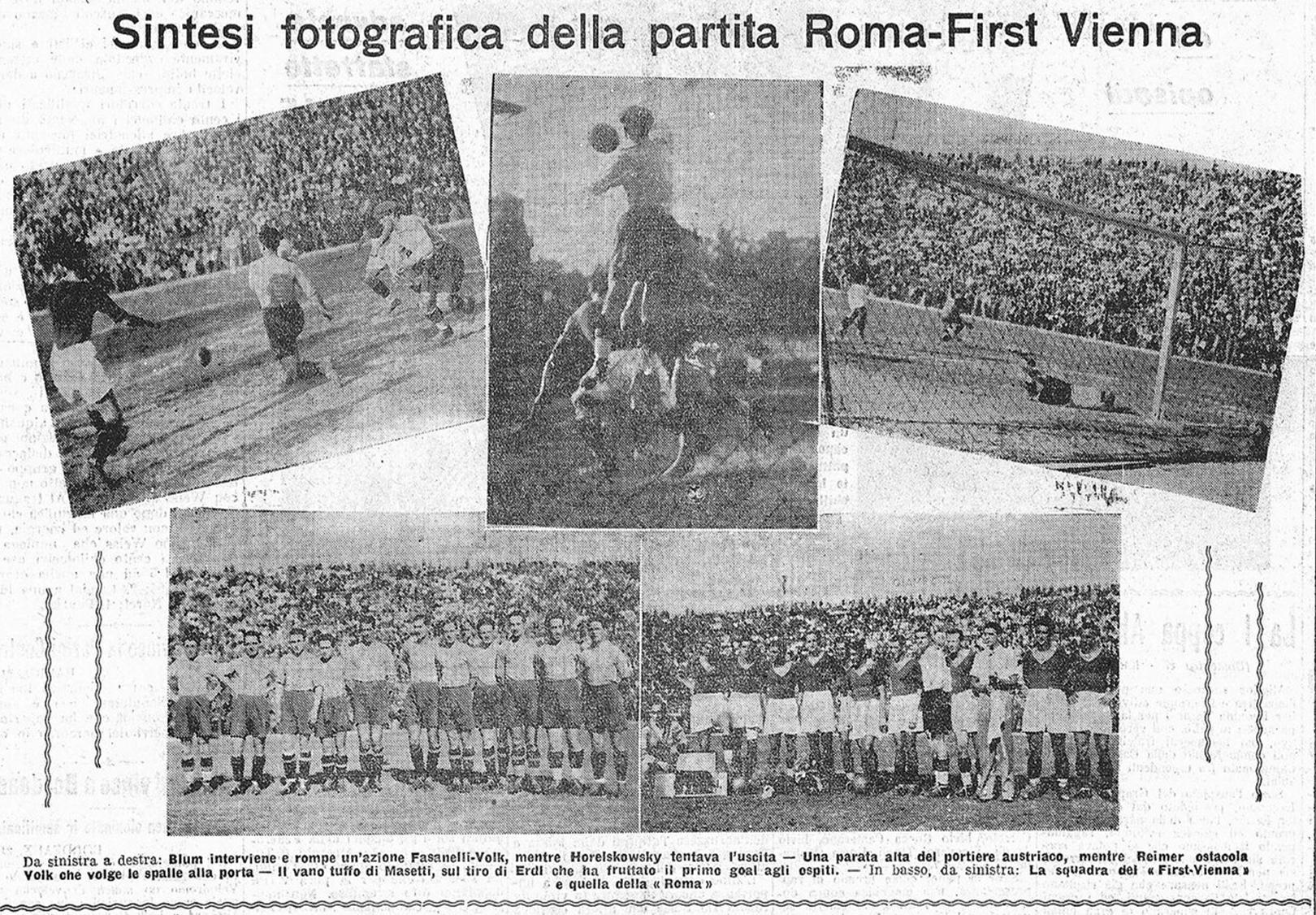 Resoconto d'epoca della sfida tra Roma e First Vienna