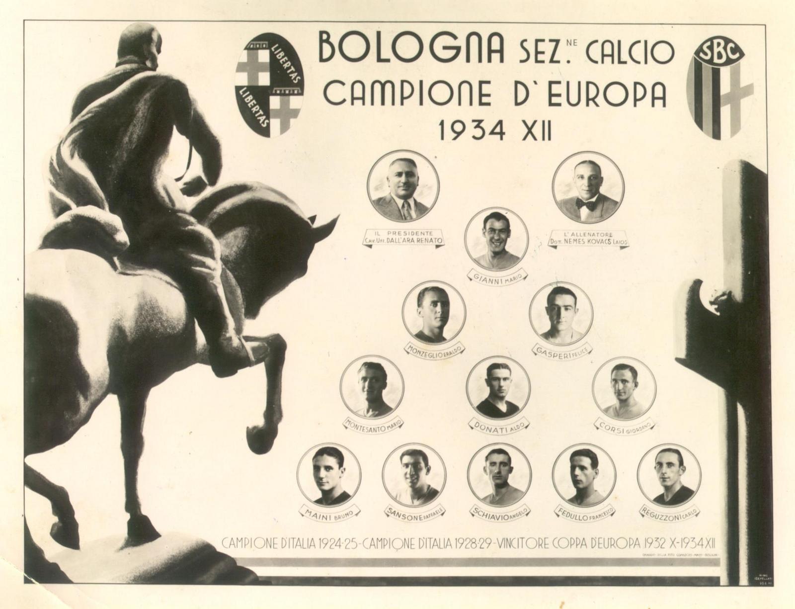 Quadro celebrativo del Bologna campione nel 1934
